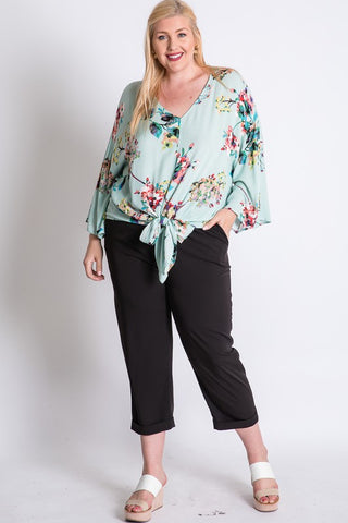 mint floral front tie top in plus sizes