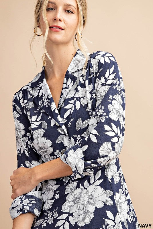 navy and white floral print dress