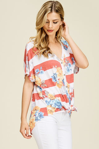 Red Striped Floral Front Tie Top - Aunt Lillie Bells