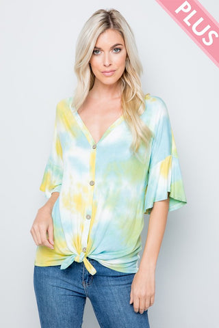 yellow and mint tie dye top in plus sizes