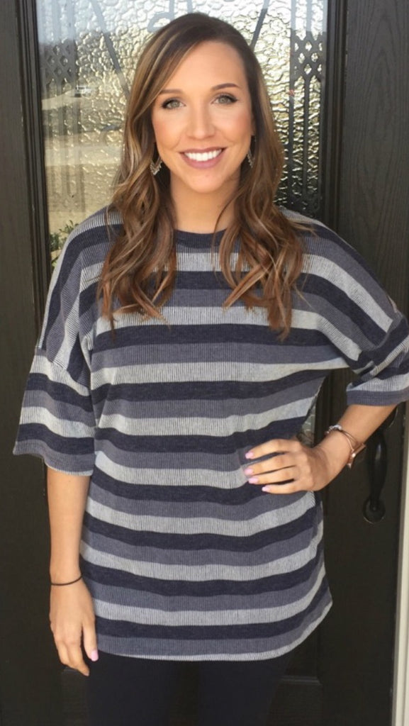 Charcoal and Black Striped Top - Aunt Lillie Bells