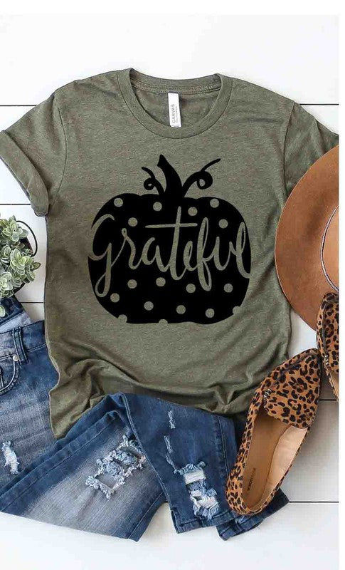 grateful polka dot pumpkin tee shirt in our aunt lillie bells boutique