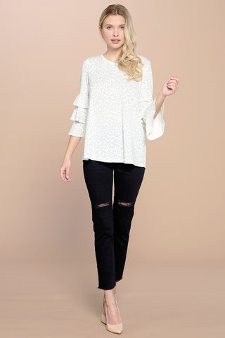 White Leopard knit top ruffled sleeves