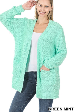 mint popcorn cardigan in regular and plus sizes