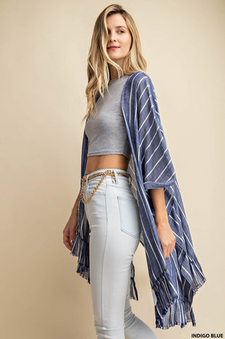 Blue raw edge ruffled cardigan