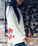 White Tie Bell Sleeve with Floral Embroidery Top White Tie Bell Sleeve with Floral Embroidery Top Aunt Lillie Bells