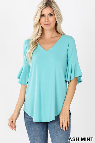mint ruffle top in our texas boutique