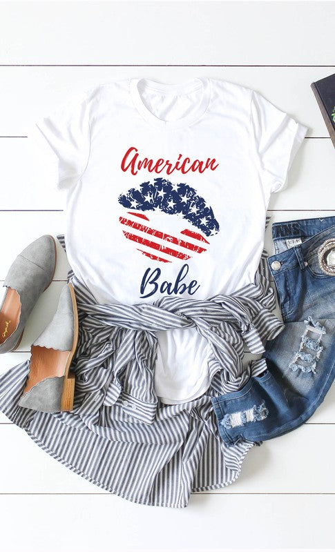 american babe lip tee in red white and blue in our texas boutique