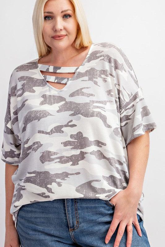 plus size white and grey camo top