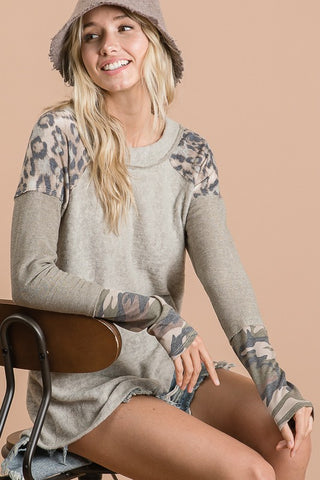 Taupe sweater with leopard and camo trim