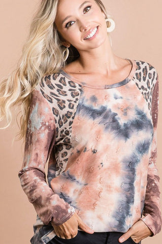 Rust and charcoal tie dye top with leopard trim