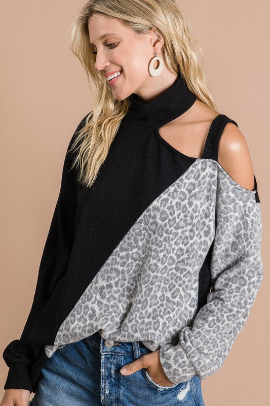 brushed knit top with leopard and black color block open shoulder top