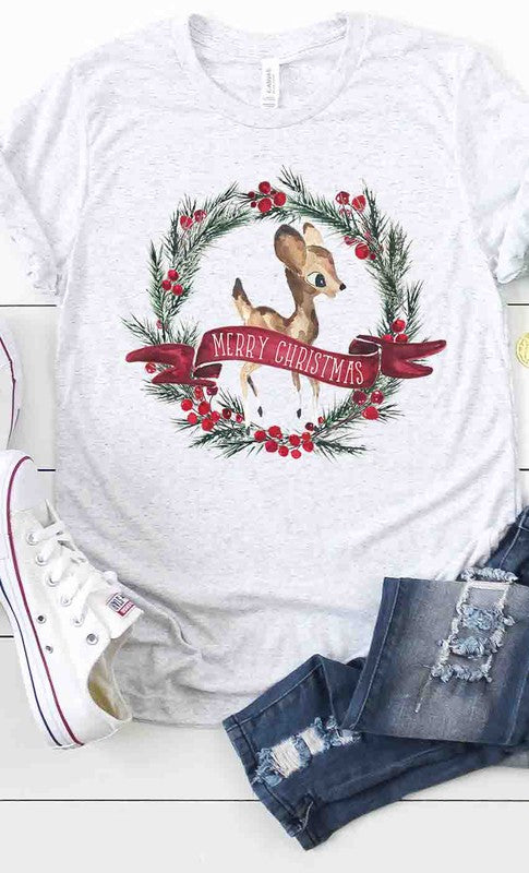 Reindeer and Wreath Christmas Tee