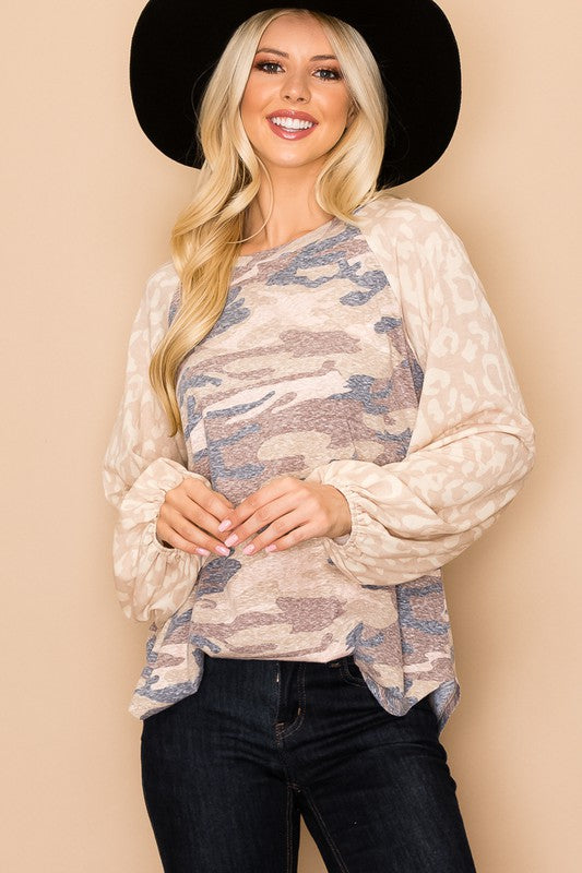 Taupe leopard sleeves and camo shirt