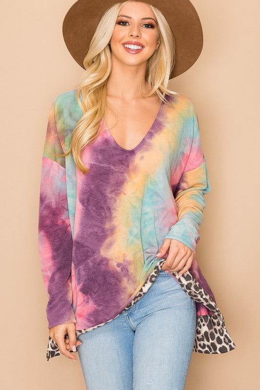 Purple tie dye top with leopard detail
