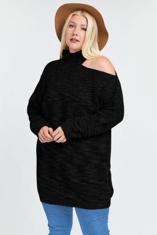 Black One Shoulder Sweater Dress