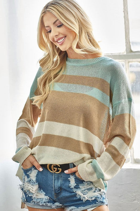 Mint and Taupe Striped Sweater