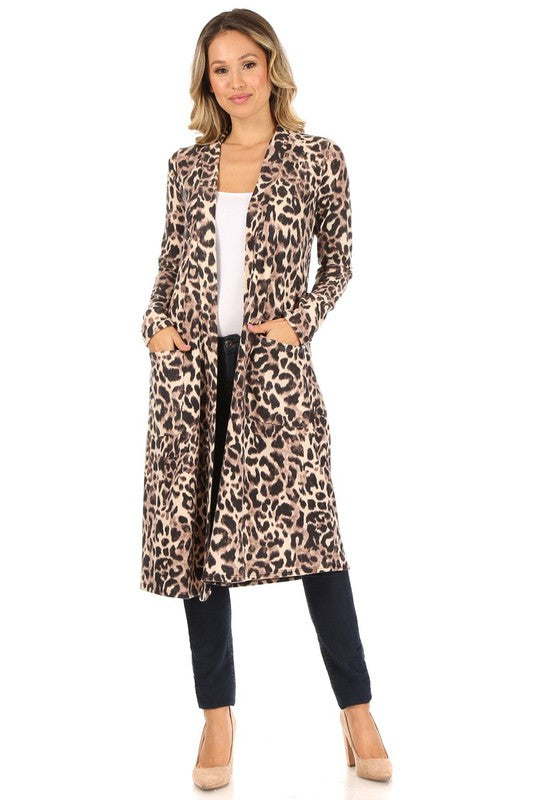 animal print duster cardigan
