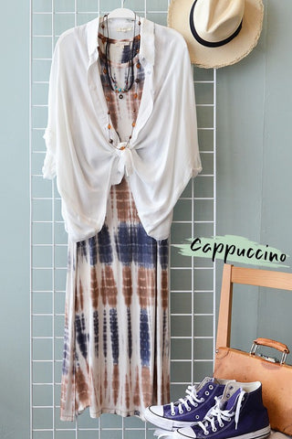brown and navy tie dye maxi dress in our online boutique aunt lillie bells