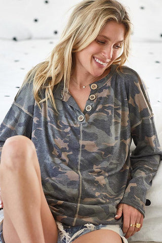 camo drop shoulder top with stitching detail
