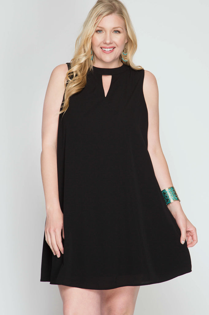 Black Keyhole Shift Dress - Aunt Lillie Bells