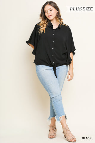 Black Front Tie Top - Aunt Lillie Bells