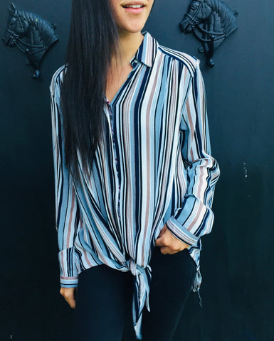 Blue stripe front tie shirt