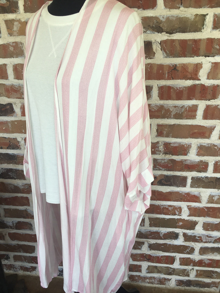 Pink and White Striped Duster Kimono - Aunt Lillie Bells