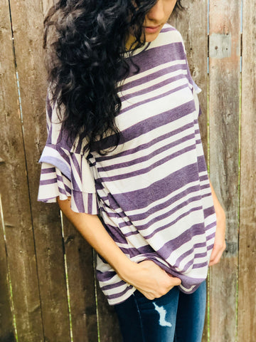 Vintage Purple Ruffle Sleeve Top Aunt Lillie Bells