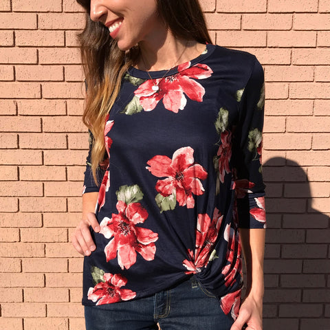 Navy Floral Knotted Top - Aunt Lillie Bells