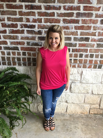 Fuschia Sleeveless Twist Tee - Aunt Lillie Bells