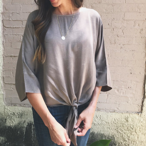 Taupe distressed top