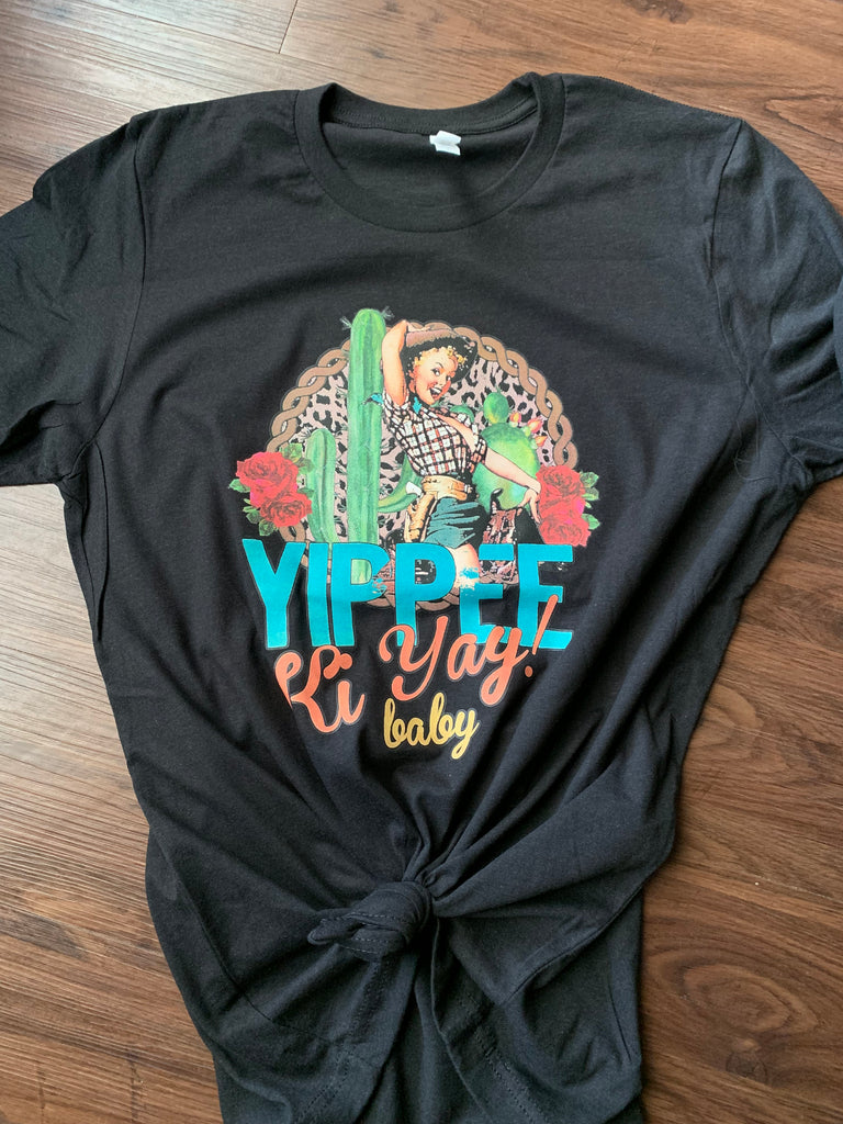 Yippee Ki Yay Baby graphic tee in our texas boutique