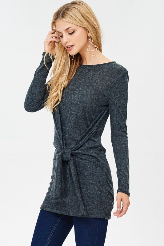 Charcoal Wrapped Sweater - Aunt Lillie Bells
