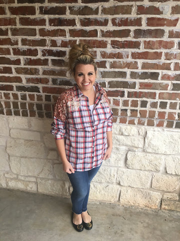 Red Plaid Lace Top - Aunt Lillie Bells