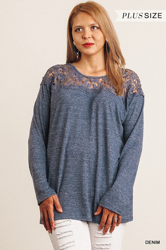 Denim Blue plus size top with embroidery trim  Top - Aunt Lillie Bells