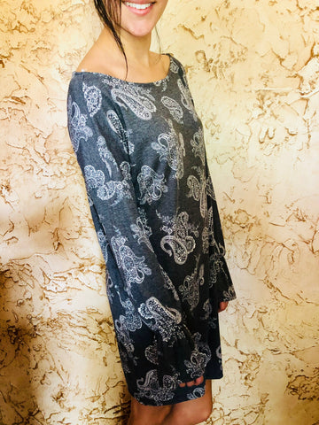 Charcoal Paisley Print Dress - Aunt Lillie Bells