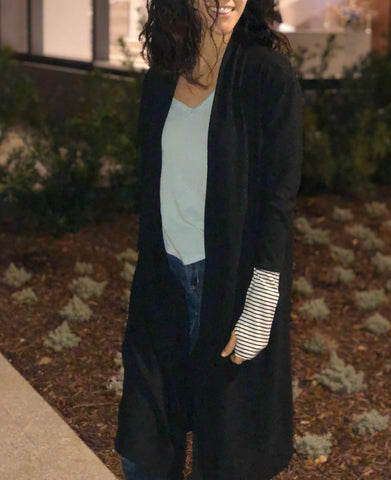 Black long Cardigan with Striped Thumb Hole Cuffs - Aunt Lillie Bells