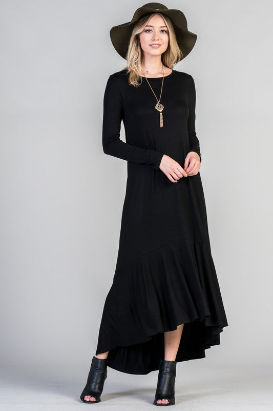 Black Frilled Dress - Aunt Lillie Bells