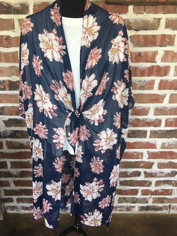 Navy Floral Front Tie Duster Kimono - Aunt Lillie Bells