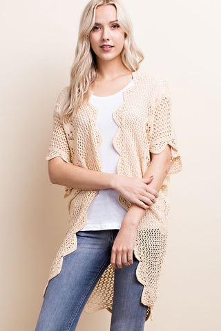 almond crochet scalloped cardigan