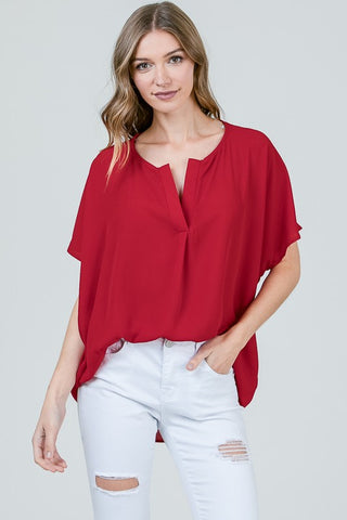 Red Chiffon Blouse - Aunt Lillie Bells