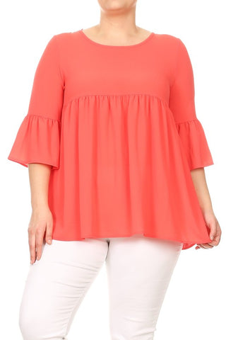 neon orange plus size babydoll top
