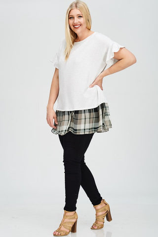 white top with plaid hem in plus sizes