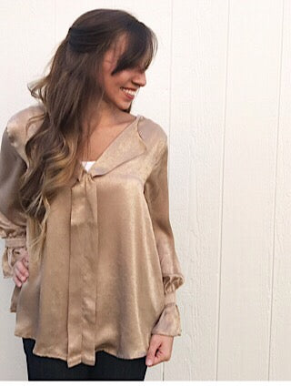 Taupe Holiday Top Aunt Lillie Bells