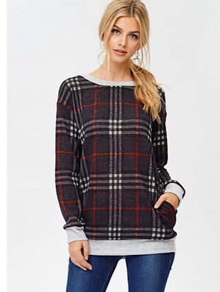Charcoal and Red Plaid Top - Aunt Lillie Bells