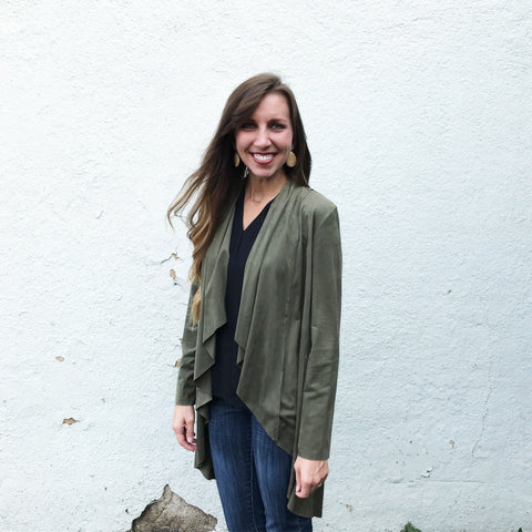 Long Olive Jacket - Aunt Lillie Bells
