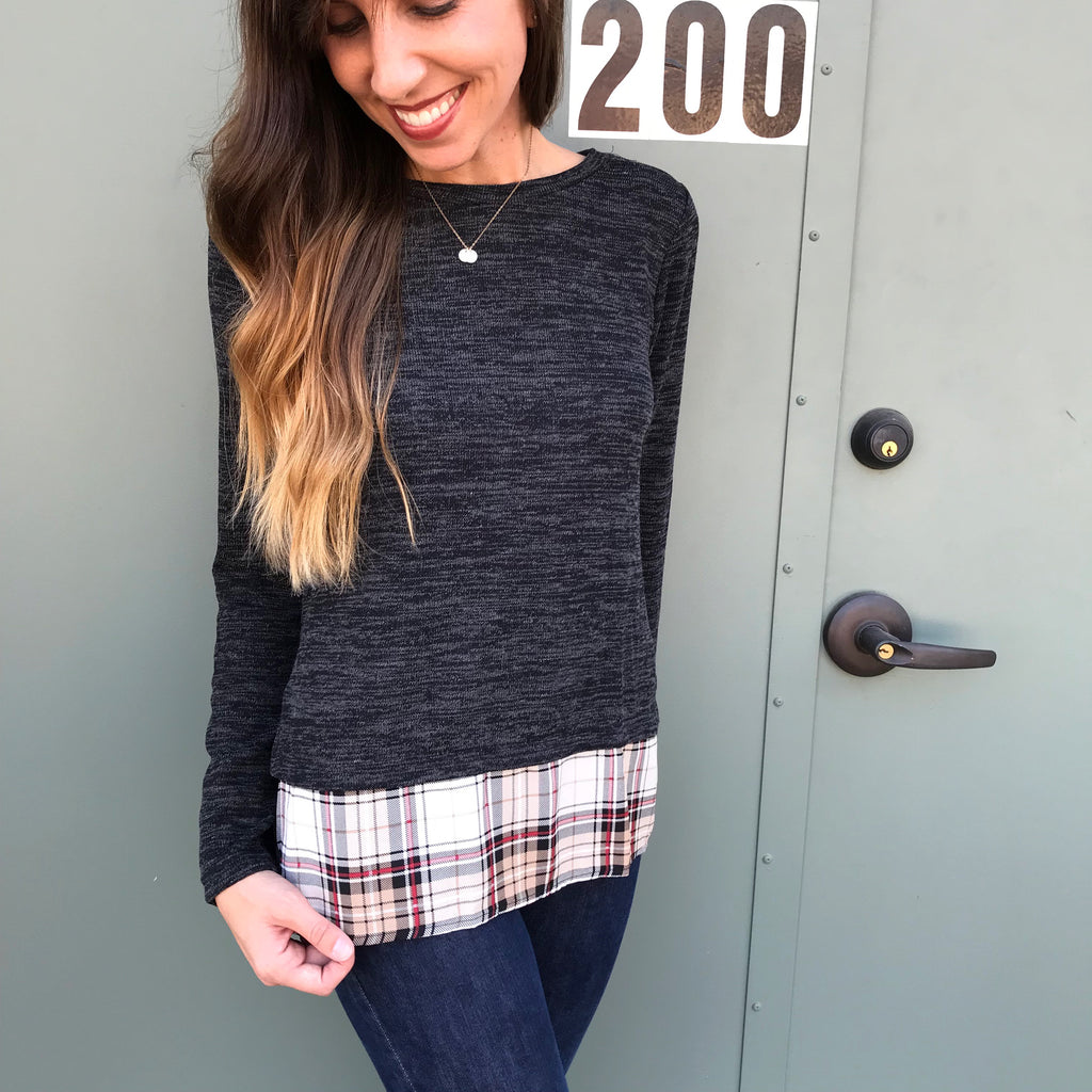 Charcoal and Plaid Top - Aunt Lillie Bells