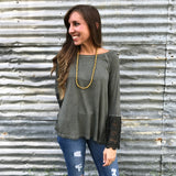 Olive Green Top with Lace Sleeves - Aunt Lillie Bells