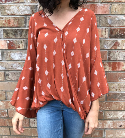 Rust Draped Top - Aunt Lillie Bells